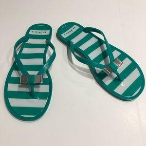 Coach Landon Jelly Flip Flops Green/White Striped